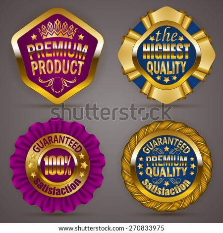 Set of luxury gold badges with stars, crown, ribbons. Top offer, product, 100 % highest quality guaranteed. Promotion emblems, icons, labels, medal, blazons for web, page design. Illustration EPS 10. - stock vector