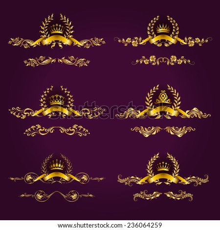 Set of luxury gold borders, frames for design of labels, emblems, medals, stickers with laurel wreath, filigree crown, ribbon, floral elements. Vector illustration. - stock vector