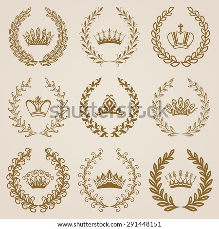 Set of luxury gold labels, emblems, medals, stickers, monograms with laurel wreath, filigree crown, ribbon for design. Vector illustration. - stock vector