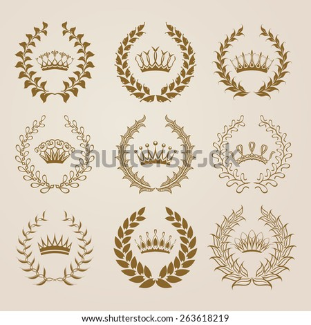 Set of luxury gold labels, emblems, medals, stickers with laurel wreath, filigree crown, ribbon for design. Vector illustration. - stock vector