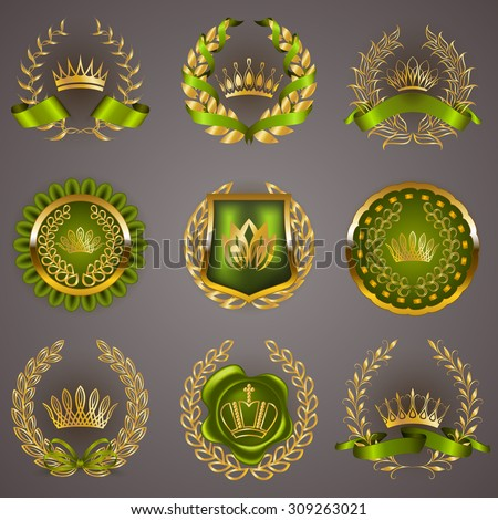 Set of luxury gold labels, medals, stickers, icons, logo with laurel wreath, filigree crowns, bow, wax seal, ribbons for page, web design. Royal heraldic elements in vintage style. Illustration EPS 10 - stock vector