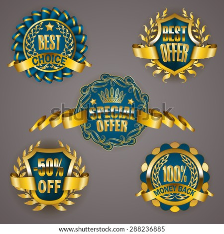 Set of luxury golden badges with laurel wreath, ribbon. 100% money back, 50% off, best choice, special offer. Promotion emblems, icons, labels, medal, blazons for web, page design. Illustration EPS 10 - stock vector
