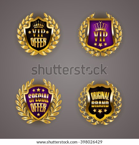 Set of luxury golden badges with laurel wreath, ribbons. Vip, best, special offer, original brand. Promotion emblems, icons, labels, medals, blazons for web, page design. Vector illustration EPS 10. - stock vector