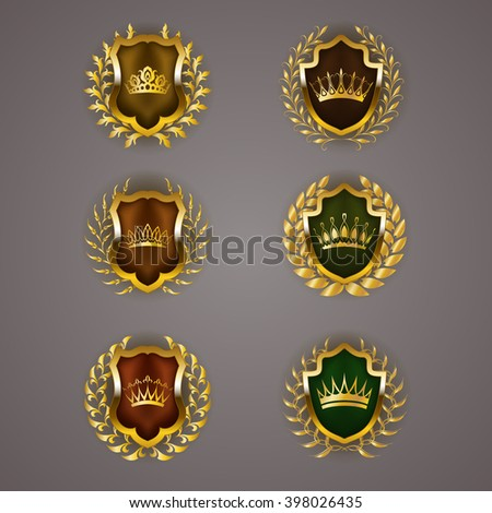 Set of luxury golden vector shields with laurel wreaths, crowns. Royal heraldic emblem, icons, label, badge, blazon for web, page design. Vector illustration EPS 10. - stock vector