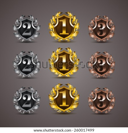 Set of luxury golden vector shields with laurel wreaths, ribbons. 1st, 2nd, 3rd places. Royal heraldic emblem, icons, label, badge, blazon for web, page design. Vector illustration EPS 10. - stock vector