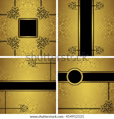 Set of luxury invitations on a gold background. Template for your design
