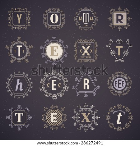 Set of luxury logos - stock vector