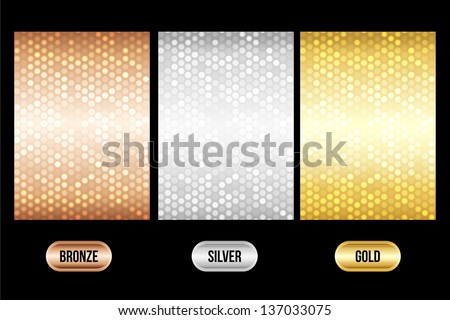 Set of luxury metallic backgrounds. Bronze, silver, gold. For discount cards or other design. - stock vector