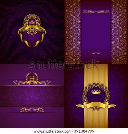 Set of luxury ornate backgrounds in vintage style. Elegant frame with floral elements, filigree ornament, gold crown, shield, ribbon, place for text on purple drapery fabric. Vector illustration EPS10 - stock vector