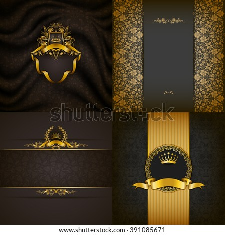 Set of luxury ornate backgrounds in vintage style. Elegant frame with floral elements, filigree ornament, gold crown, shield, ribbons, place for text on gray drapery fabric. Vector illustration EPS10 - stock vector