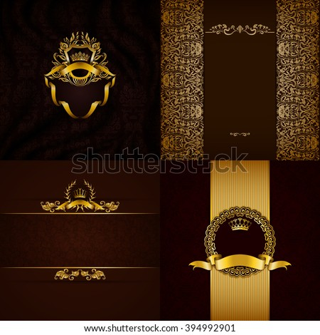 Set of luxury ornate backgrounds in vintage style. Elegant frame with floral elements, filigree ornament, gold crown, shield, ribbons, place for text on brown drapery fabric. Vector illustration EPS10 - stock vector