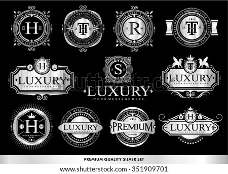 Set of luxury silver badges and stickers. - stock vector