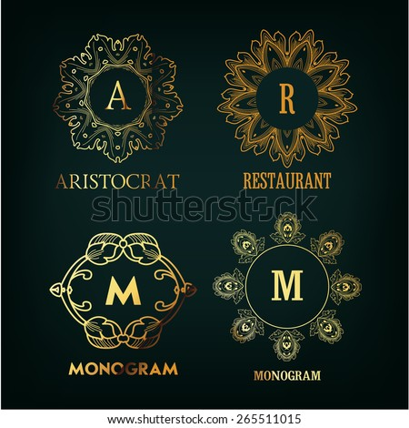 Set of luxury, simple and elegant  monogram designs template with copy-space for text . Good for labels. Vector illustration. - stock vector
