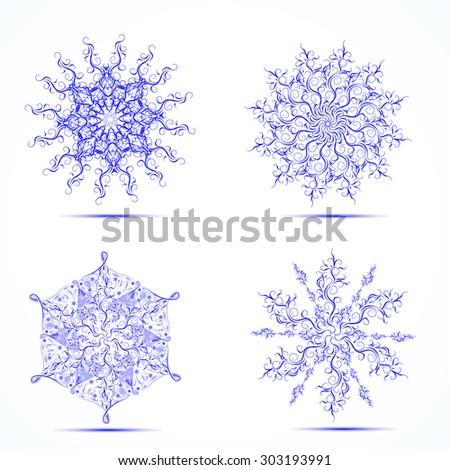 set of luxury snowflakes - stock vector