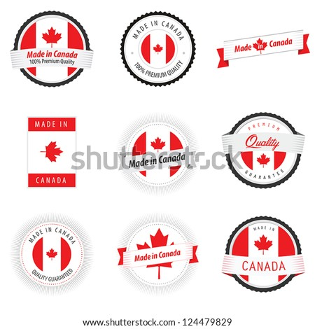 Set of Made in Canada labels, badges and stickers - stock vector