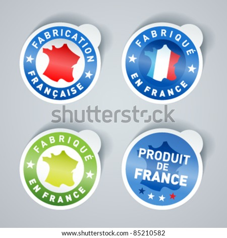 Set of Made in France stickers. Vector EPS10. - stock vector
