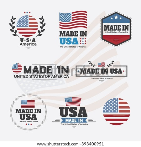 Set of Made in Usa Labels and Badges Vector Design illustration - stock vector