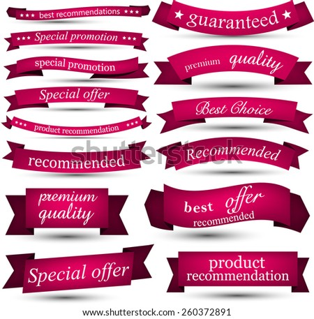 Set of magenta banners and ribbons. Vector illustration.  - stock vector