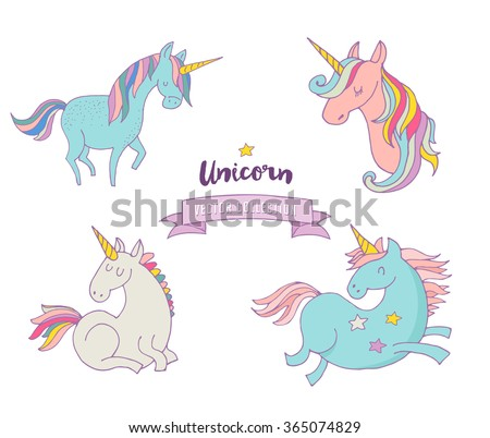 Set of magic unicorns - cute hand drawn icons - stock vector
