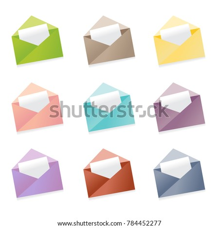 Set 9 mail envelope icons office stock vector 784452277 shutterstock office document letter message communication stopboris Image collections