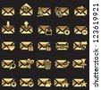 set of mail icons - golden line - stock photo