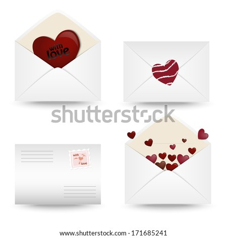 Set of mail icons with hearts on a white background