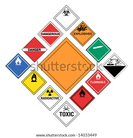 Set of major Hazardous Signs - stock vector