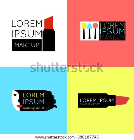 Set of makeup artist, salon,shop logo. Beauty salon or makeup artist branding identity. Beauty makeup items icons for visagiste beauty clinic, cosmetics or spa. Cosmetic, make-up studio logo design. - stock vector