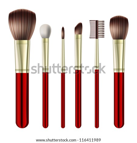 Set of makeup brushes on white background. Vector illustration - stock vector