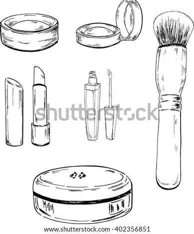 Set of makeup elements on white background. Hand drawn vector illustration.