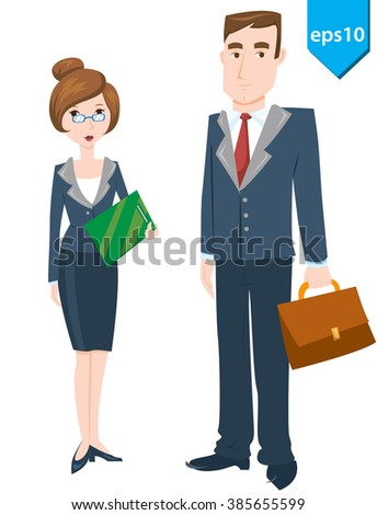 Set of male and female business person in office dress-code. Businessmen and businesswomen isolated on white background