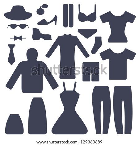 set of male and female garments - stock vector