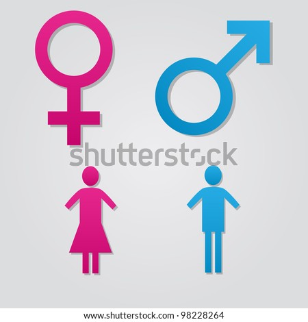 Set of male and female sex vector symbols