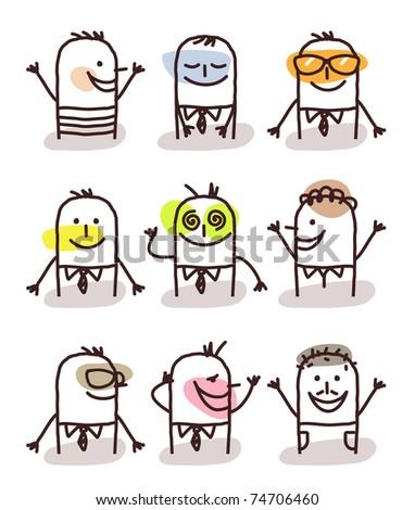 set of male avatars - good moods - stock vector