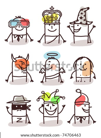 set of male avatars - with accessories - stock vector