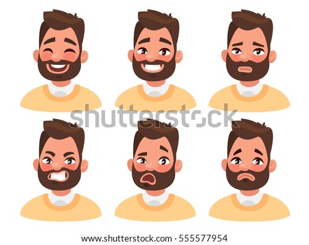 Set Male Facial Emotions Bearded Man Stock Vector 555577954