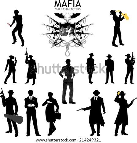 Set of male silhouettes retro 1930s style Mafia theme gangster musitian police - stock vector