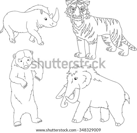 Set of mammoth, prehistoric bear, saber-toothed tiger and rhino. Coloring book for kids. Vector illustration - stock vector