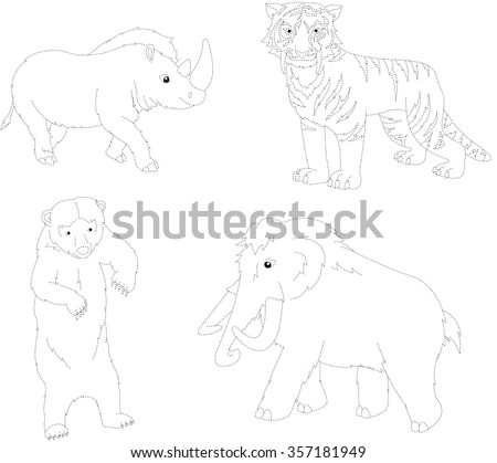 Set of mammoth, prehistoric bear, saber-toothed tiger and rhino. Dot to dot educational game for kids. Vector illustration - stock vector