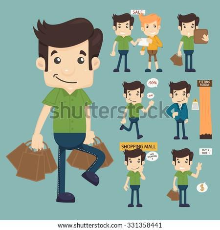 Set of man at market shopping store , eps10 vector format - stock vector
