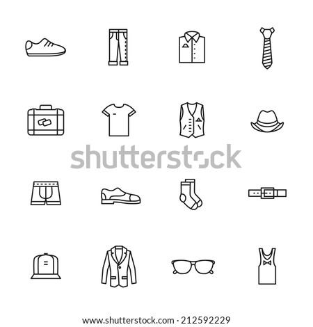 Set of  man clothing icons - stock vector
