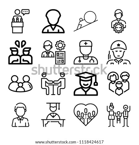 set 16 man outline icons such stock vector 1118424617 shutterstock Best Resume for New Graduates set of 16 man outline icons such as meeting man doctor service