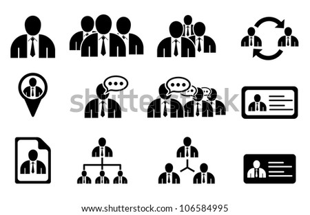 Set of management icons - stock vector