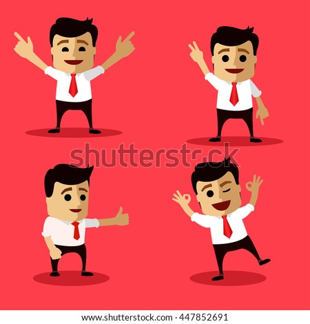 set of manager character in different interactive poses. flat person. vector character. set of businessmen happy for their success. Flat illustration.
