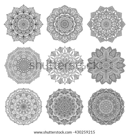 Set of mandalas for coloring book. Decorative round ornaments. Anti-stress therapy patterns. Weave design elements. Yoga logos, backgrounds for meditation poster. Unusual flower shape. Oriental vector - stock vector