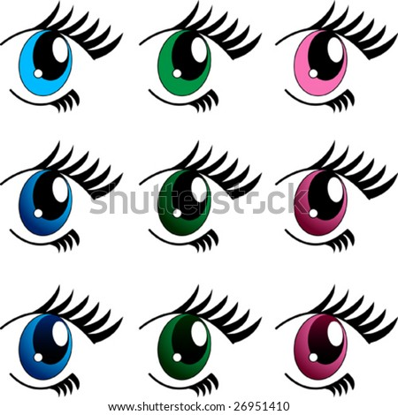 set of 9 manga eyes