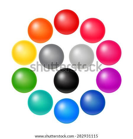 Set of Many Colorful Balloons. Vector Rainbow Matte Orbs. 3D Spectrum Buttons. - stock vector
