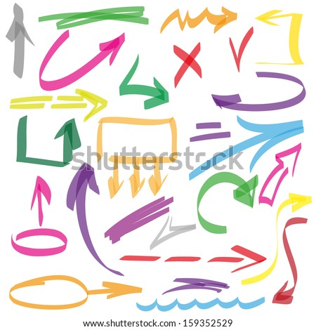 Set of many hand-drawn arrows isolated, vector  elements - stock vector