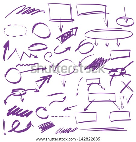 Set of many hand-drawn arrows isolated , vector highlighter elements - stock vector