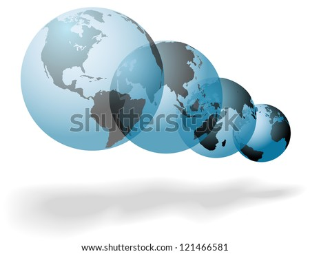 Set of many worlds of planet Earth floating globes symbols of change and change - stock vector